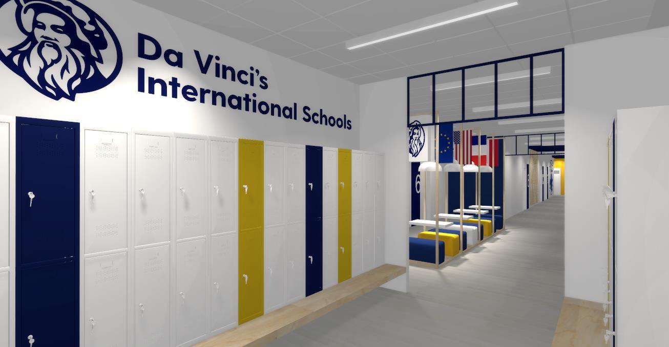 kolorowe szafki na korytarzu w nowoczesnym liceum prywatnym