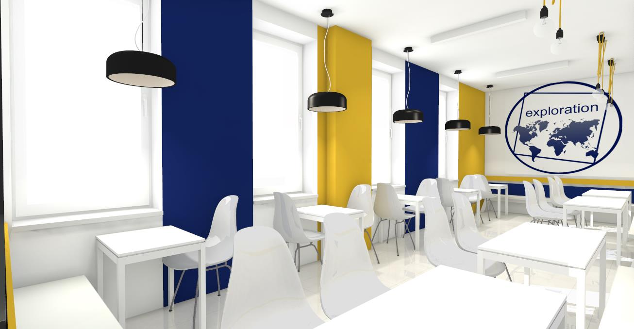 colorful and modern dining room at da vinci high school