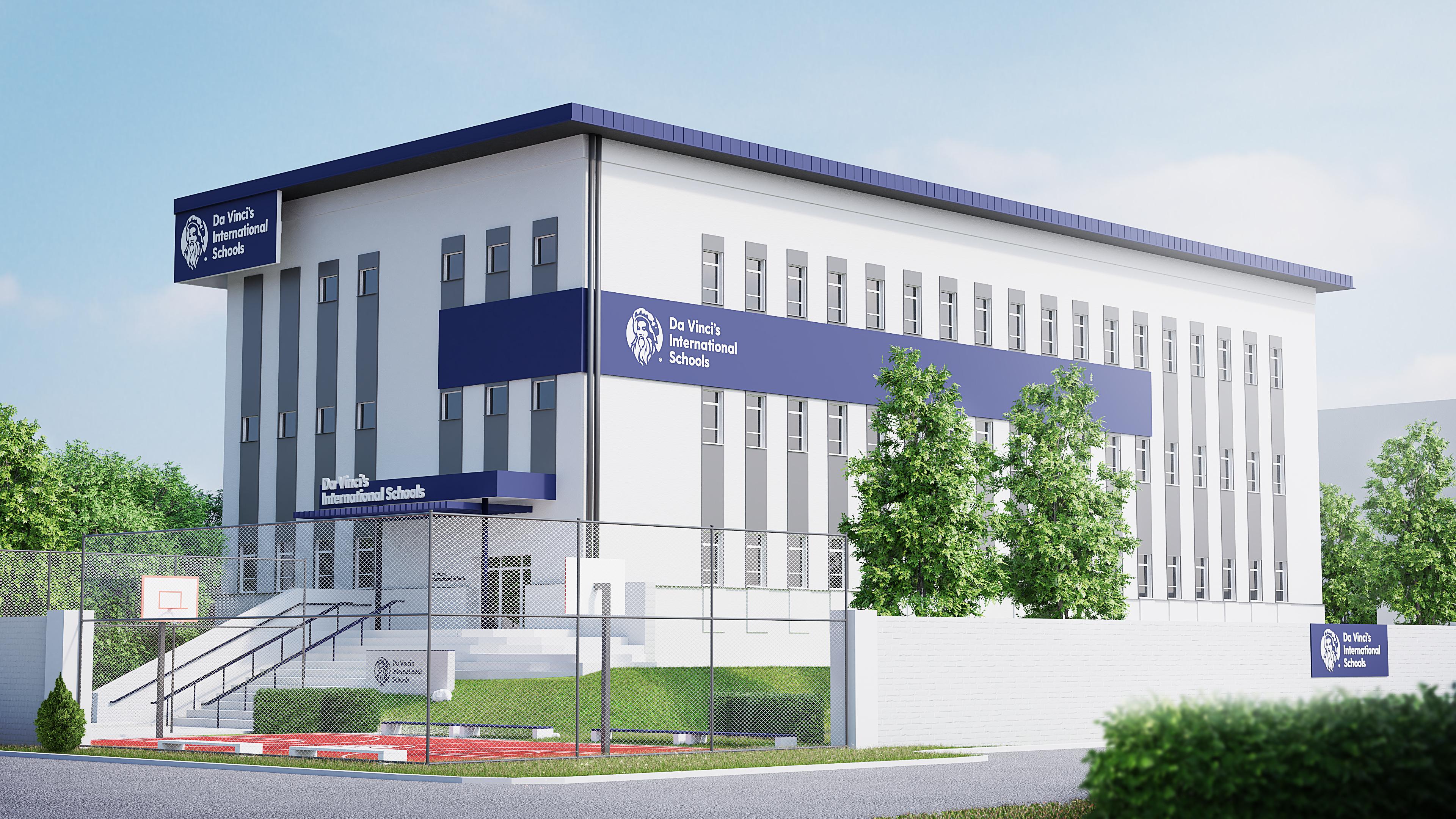 biały budynek liceum prywatnego da vinci w krakowie